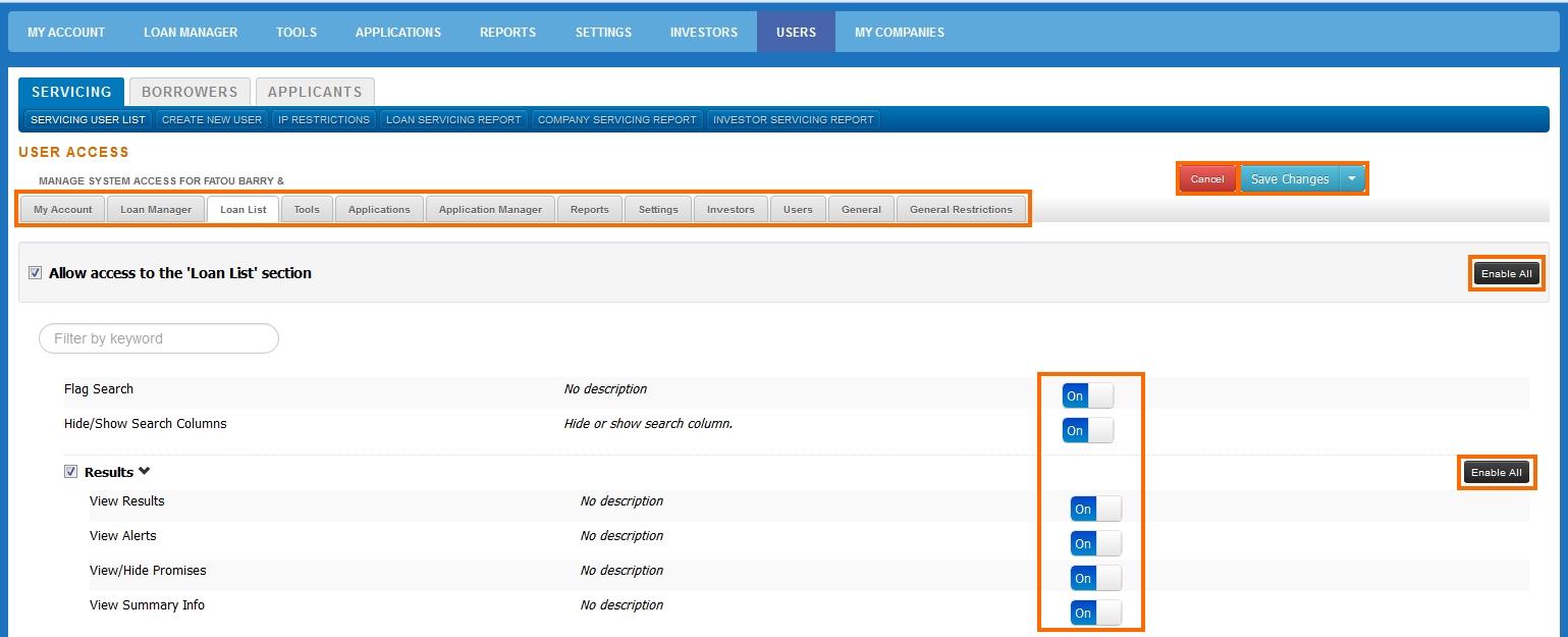 Apply Access Settings user access