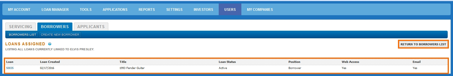Borrower Users Loans Assigned