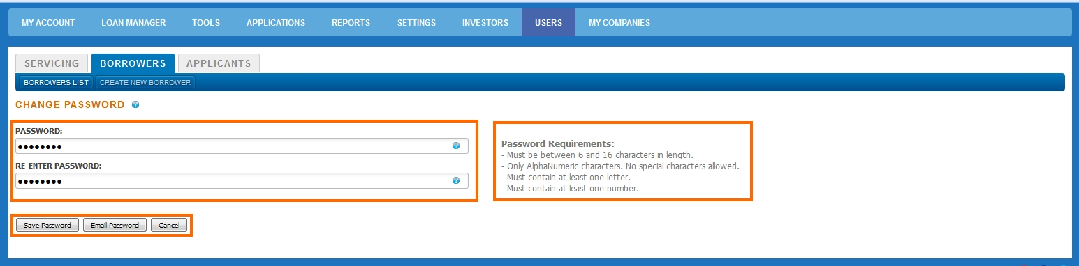 Borrower Users Password
