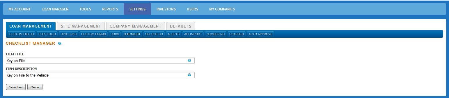 Configure Checklist Create New Item