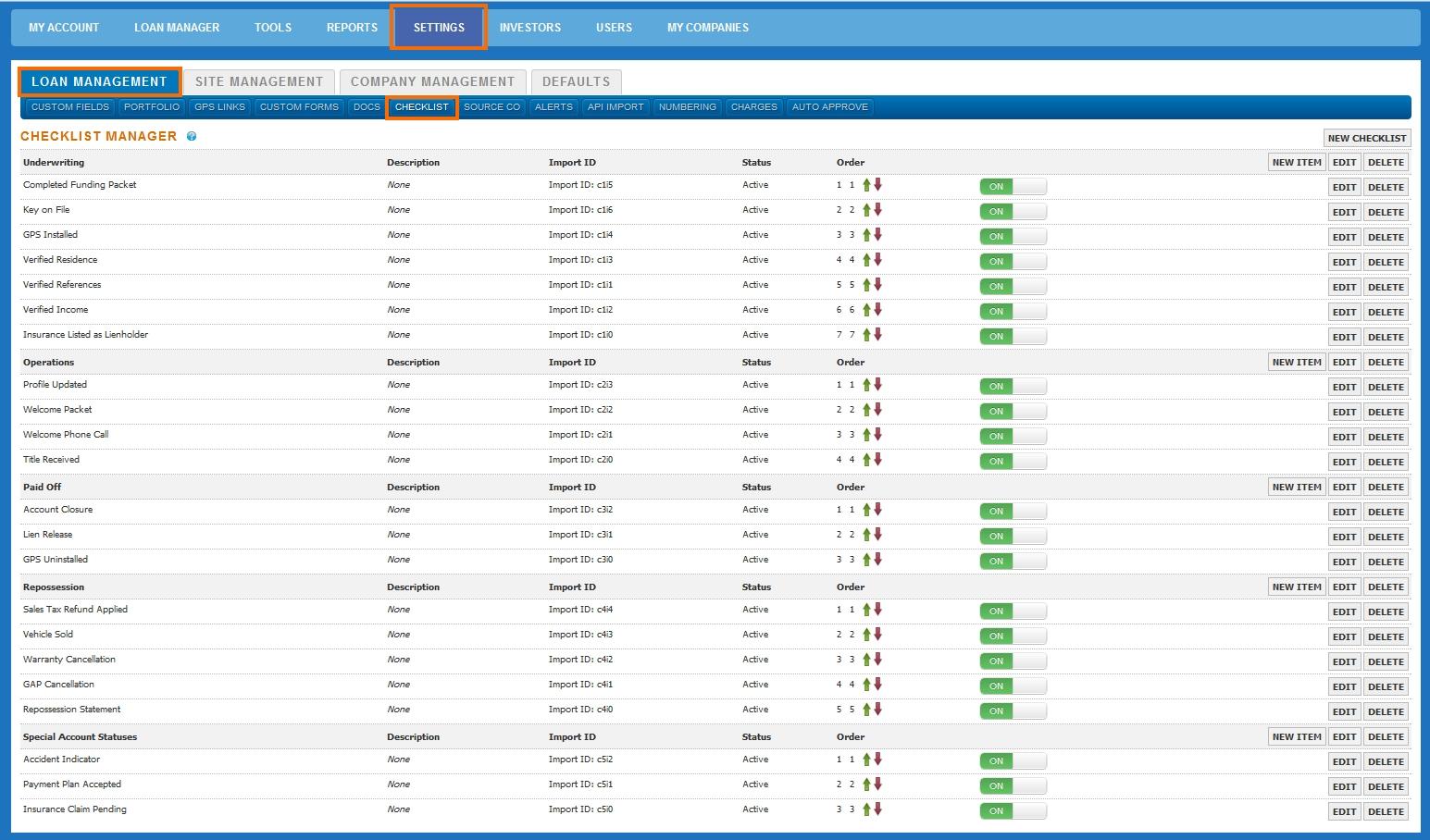 Configure Checklist