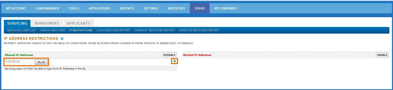 IP Adress Allowd