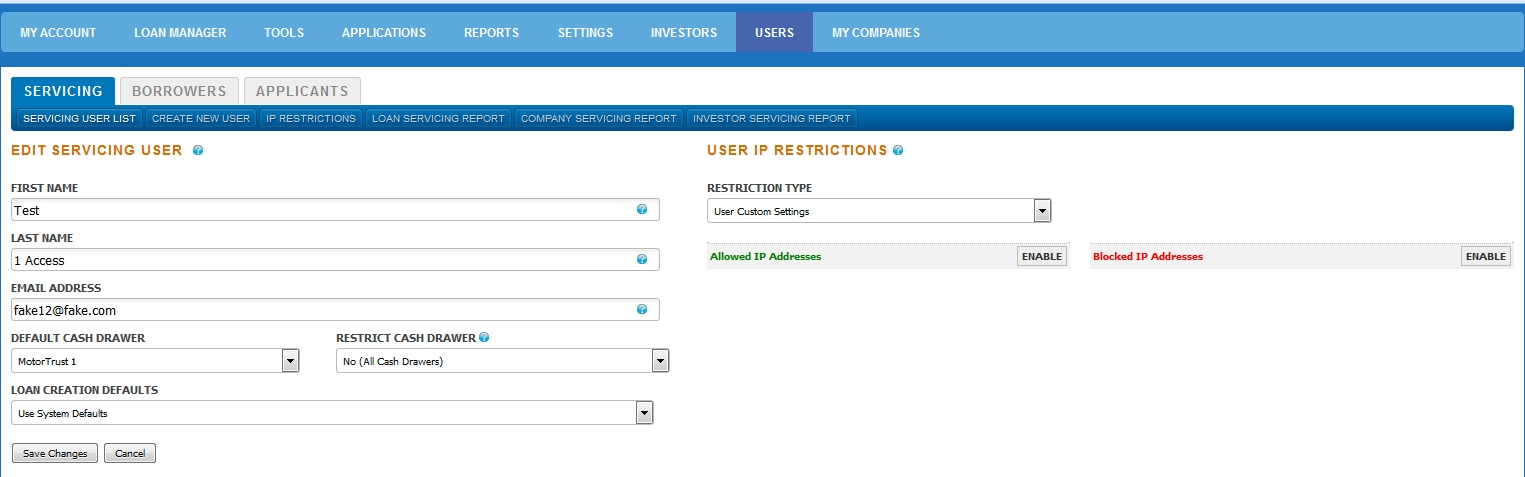 IP Restrictions User Settings
