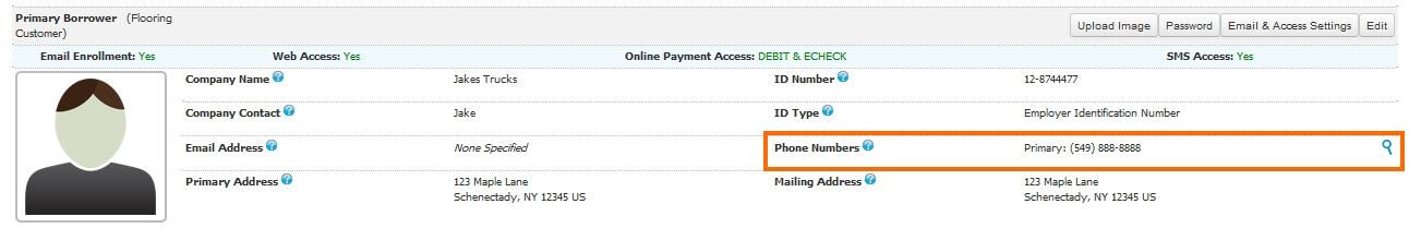 SMS user info