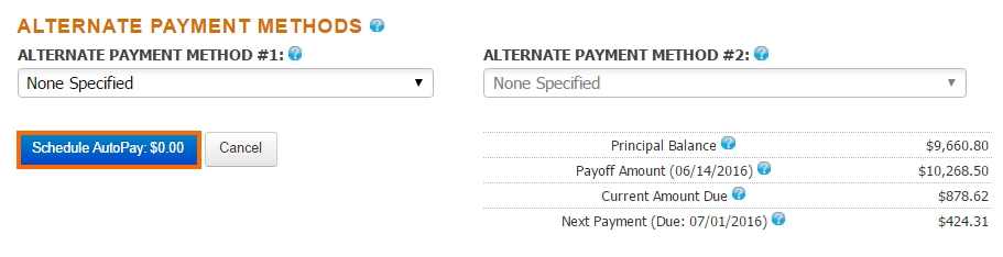 AutoPay Alternate Payment Methods