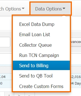 Data Options - Send to Billing