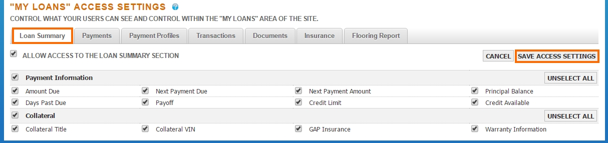 End User Site Loan Summary