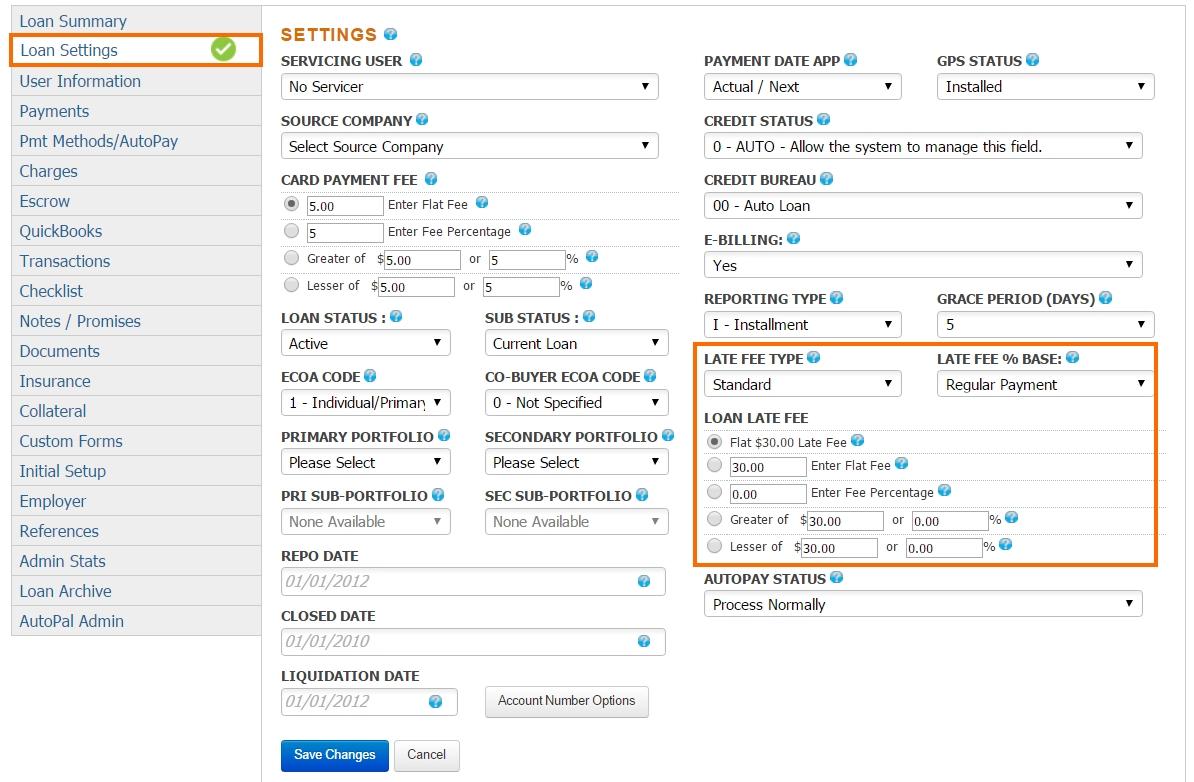 Late Fee Configuration - Loan Settings