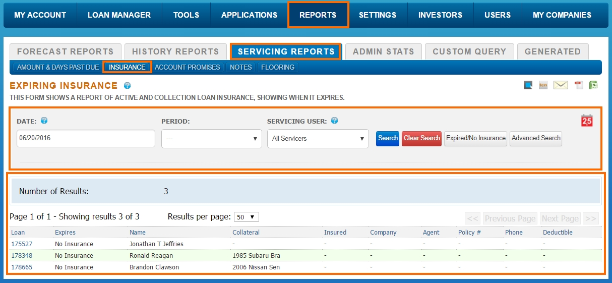 Reports - Servicing Reports - Insurance