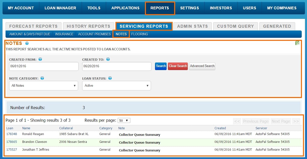 Reports - Servicing Reports - Notes