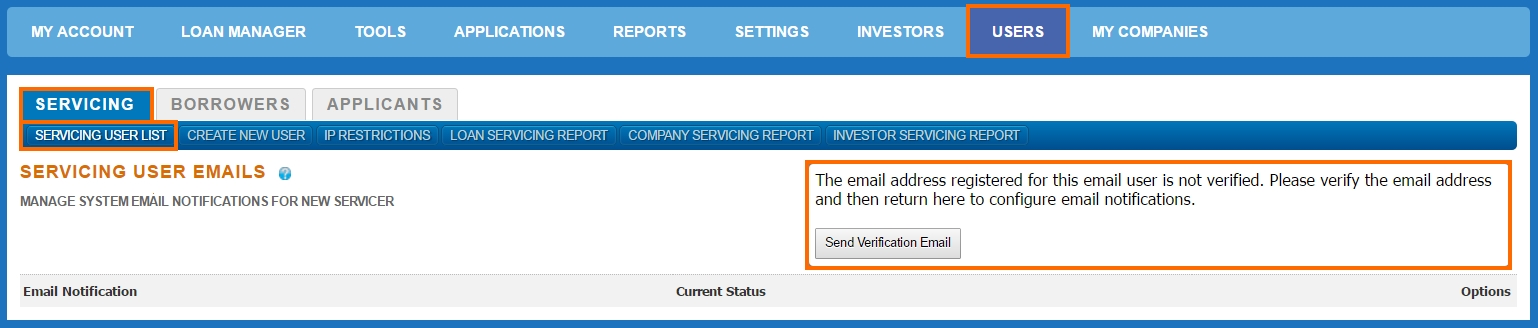 users - servicing - servicing user list - not verified