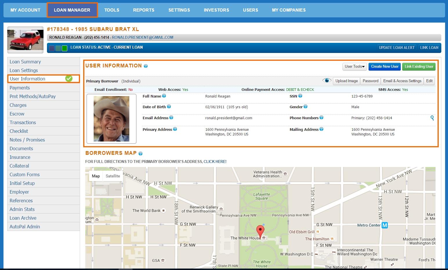 Loan Manager - User Information
