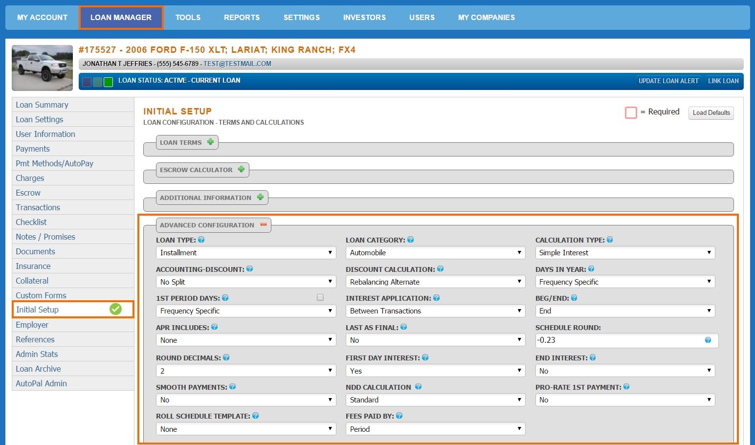 Loan Manager - Initial Setup - Advanced Configuration2