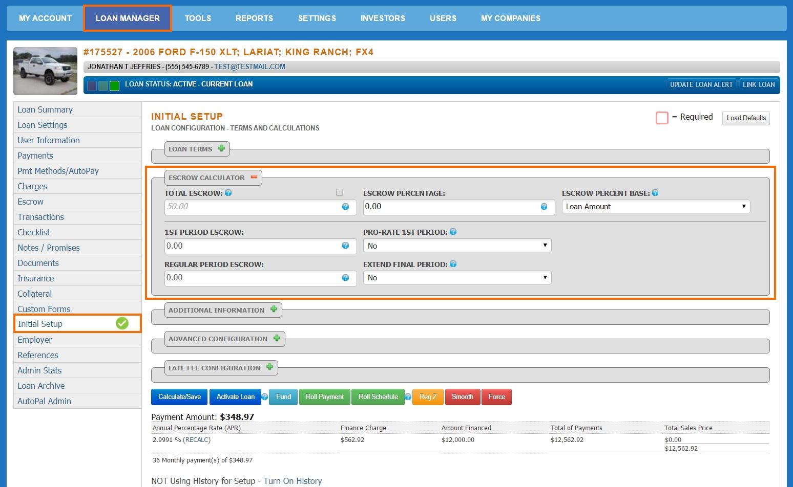 Loan Manager - Initial Setup - Escrow Calculator 2