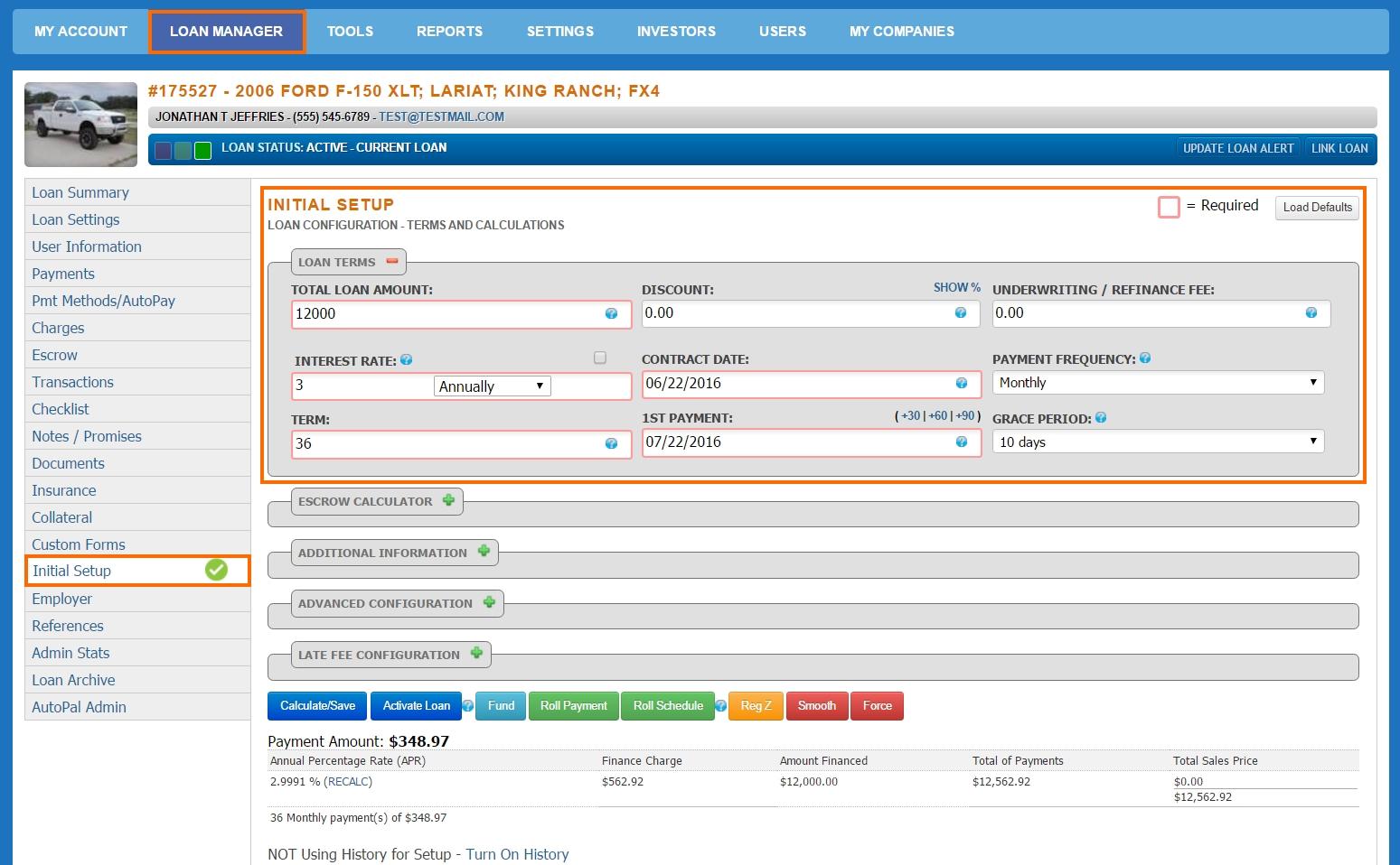 Loan Manager - Initial Setup - Loan Terms2