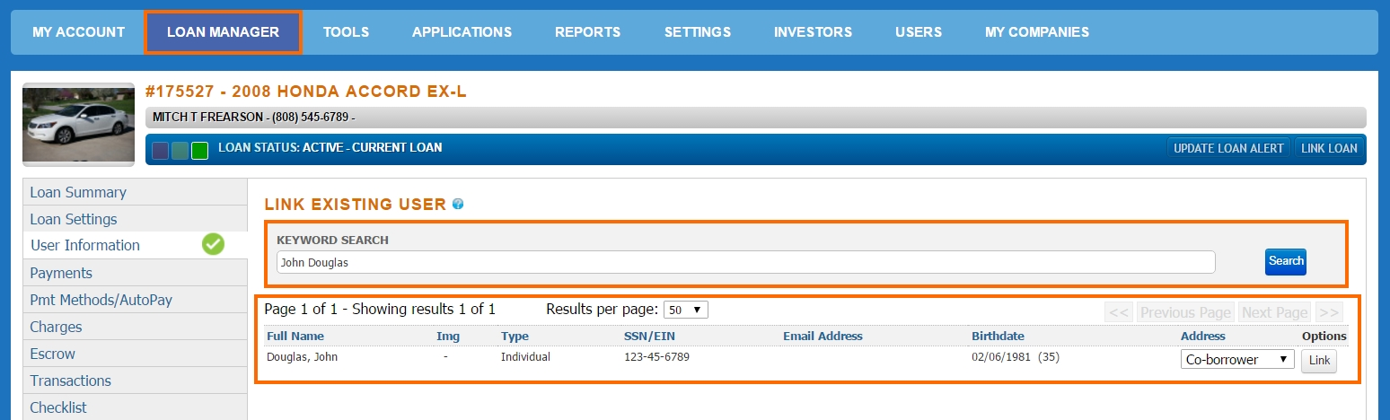 User Information - Link a Borrower _ Borrower Selection