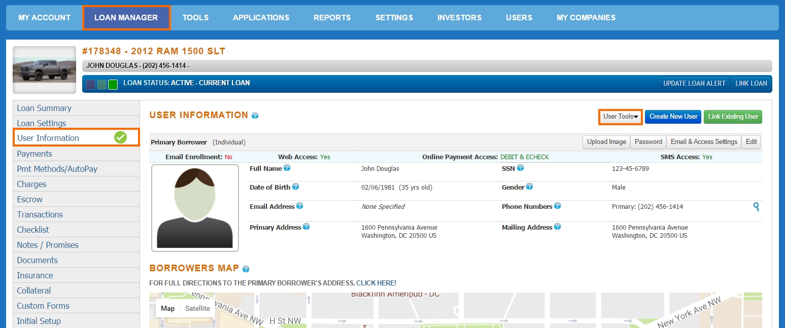 Loan Manager - User Information - User Tools